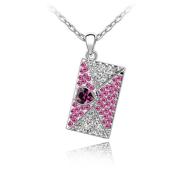 Pendentif Lettre d'Amour en Cristal de Swarovski Element rose