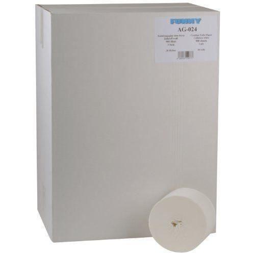 FUNNY Lot de 36 rouleaux de papier toilette double épaisseur 900 feuilles Rouleaux sans noyau au centre Blanc - AG-024