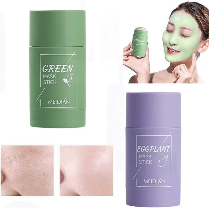 Green Tea Purifying Clay Stick Mask Oil Control Anti-Acne Solid Fine Cleansing Mask Solid Facial Mask Eggplant Facial Detox Mud