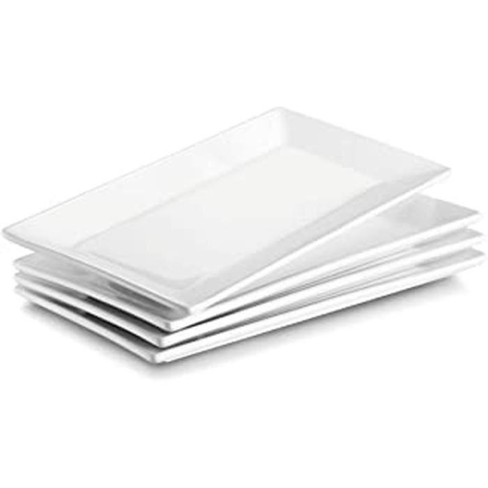Lot De 4 Assiettes Plates En Porcelaine Carrée, Assiettes À Dessert, Plateau De Service, Service De Table Vaisselles Plat, 25Cmx14Cm