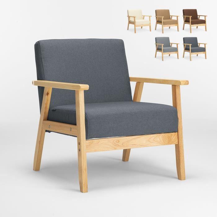 Fauteuil Chaise scandinave design vintage en bois avec accoudoirs Uteplass, Couleur: Gris foncé