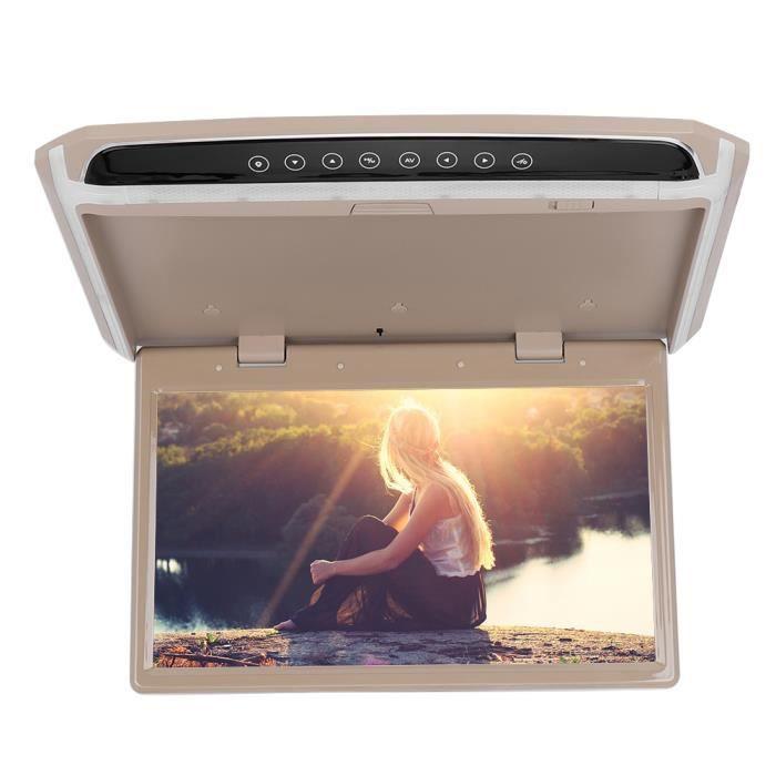 Qiilu Moniteur de voiture , voiture Auto 15.6in TFT plafond toit vidéo 1080P HD écran de moniteur USB TF HDMI lecteur multimédia