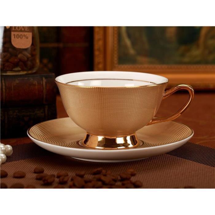 Service à café avec soucoupes,Service à thé en porcelaine royale, tasse et soucoupe en céramique de luxe or, Design - Type 1 #A2