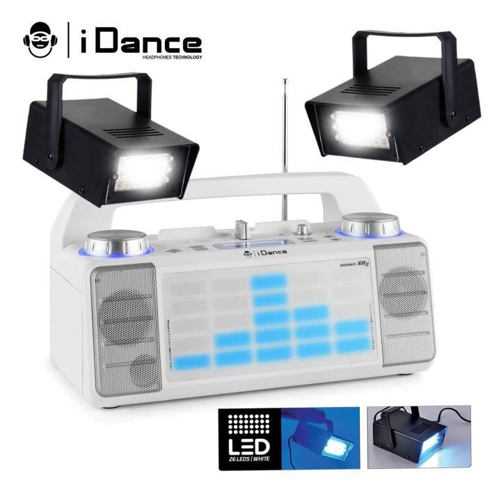 Enceinte KARAOKE mobile 50W à LED AUX-FM-USB-FADER-MIXER-BT + 2 Stroboscopes LEDs