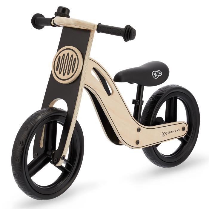 Kinderkraft Vélo Draisienne en bois UNIQ - 12 pouces - à partir de 2 ans - Couleur Noir