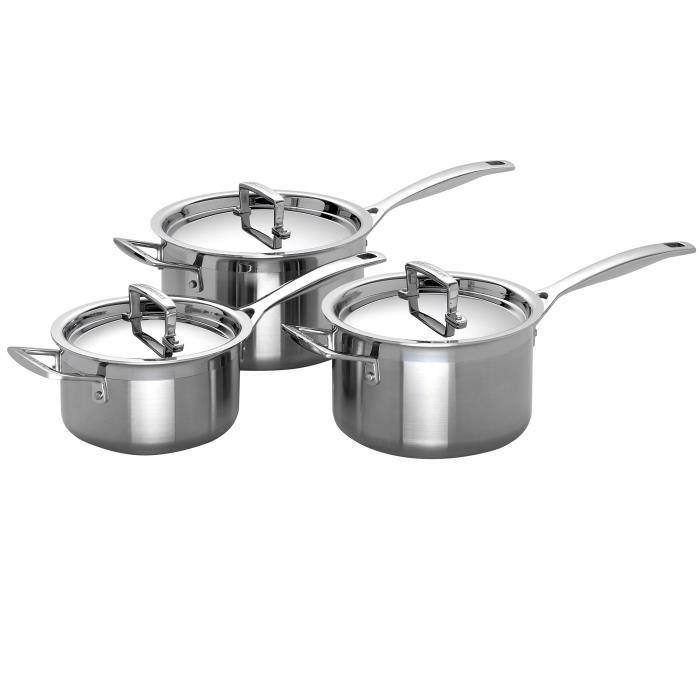 Le Creuset Set de 3 casseroles avec couvercle Triplis(16-18- 20 cm)