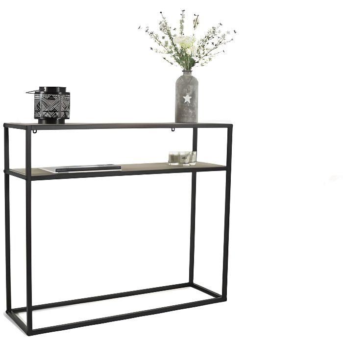 LIFA LIVING Console meuble industriel pour Salon Entrée Chambre Cuisine, Table d'appoint rectangulaire, Métal/bois, 100 x 30 x 85 cm