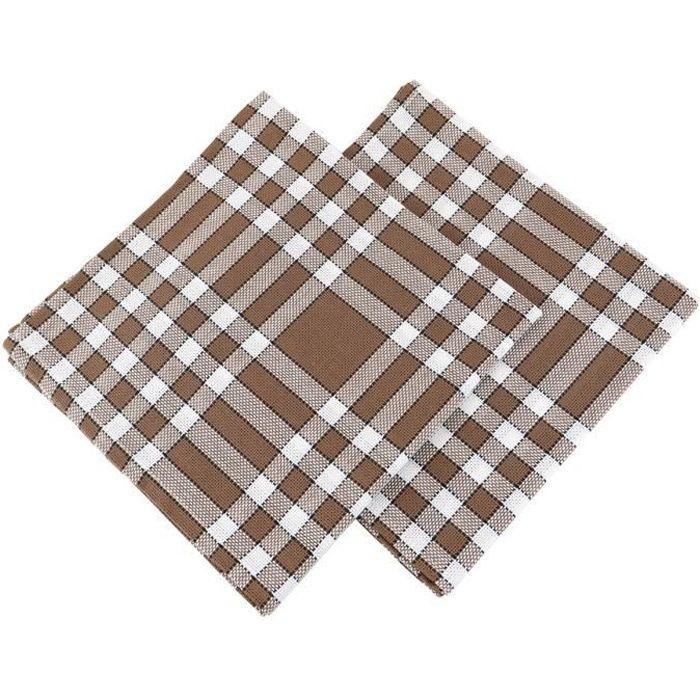 LINANDELLE - Lot de 2 grandes serviettes de table coton 57 fils carreaux vichy normand NELLY - Marron