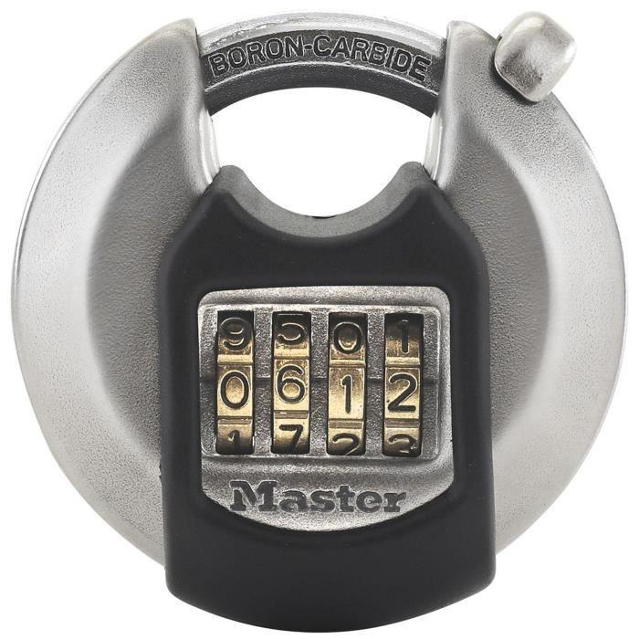 MASTER LOCK Cadenas disque extérieur à combinaison - Haute sécurité - Anse protégée