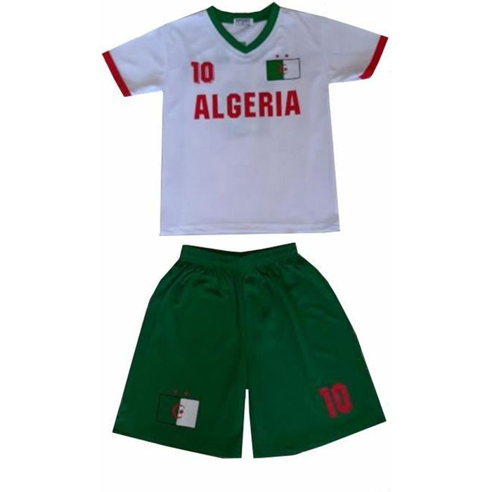 Ensemble De Vetements De Football - Tenue De Football - NPZ - Ensemble short et maillot de foot Algérie blanc Taille de 4 à 16 ans
