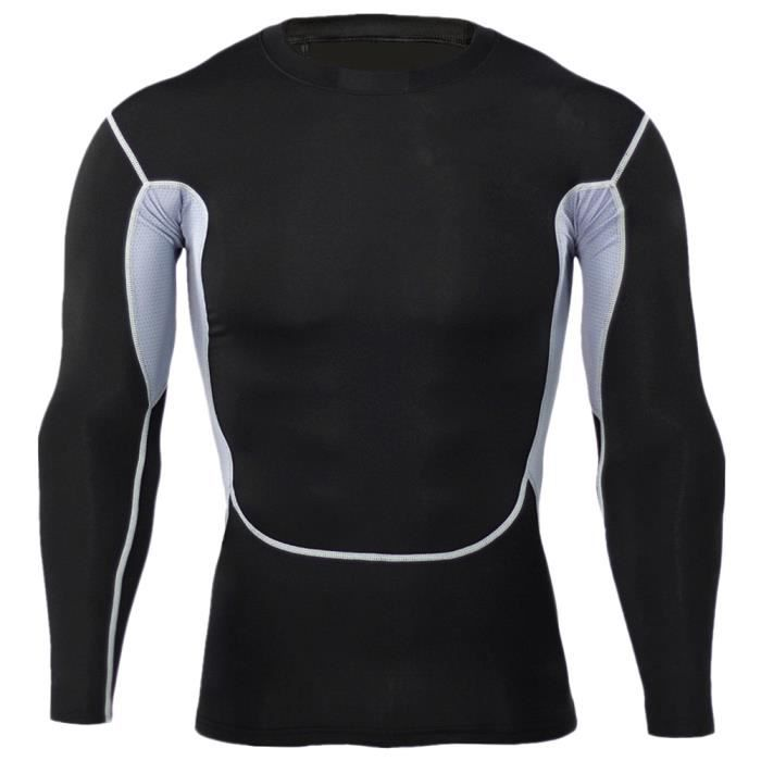 Maillot Compression À Manches Longues Tops Homme Sports Musculation Respirant 7 S