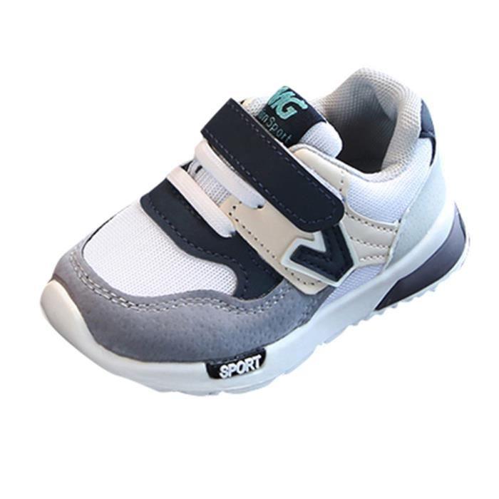 Enfant en bas âge bébé garçons filles enfants baskets décontractées maille douce course lettre chaussures gris