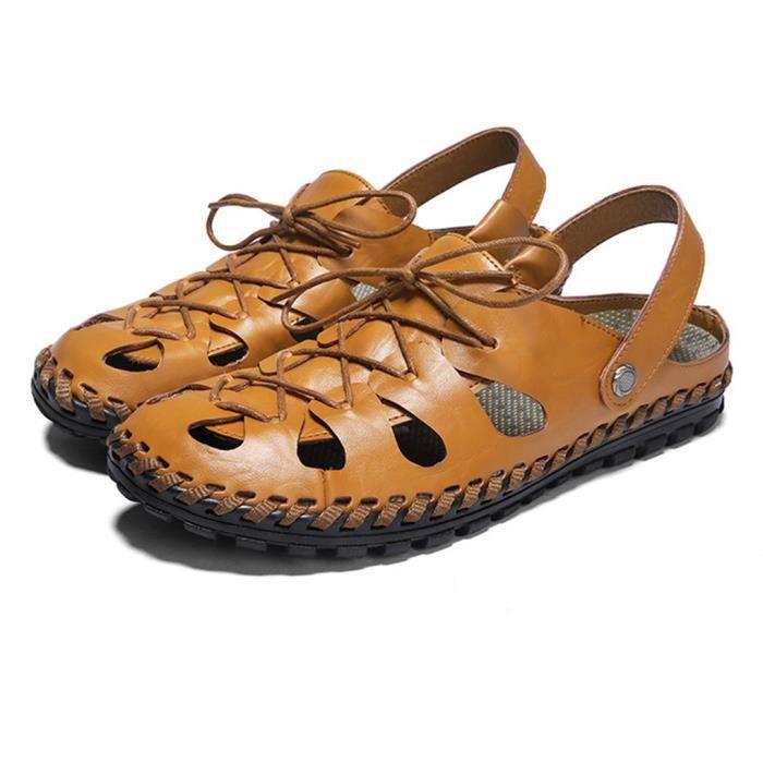 MBF® Homme Sandales Casual Plage Randonnée Sport Bout Fermé en Cuir de Vachette Chaussures de Plage Respirant Confortable - Brun