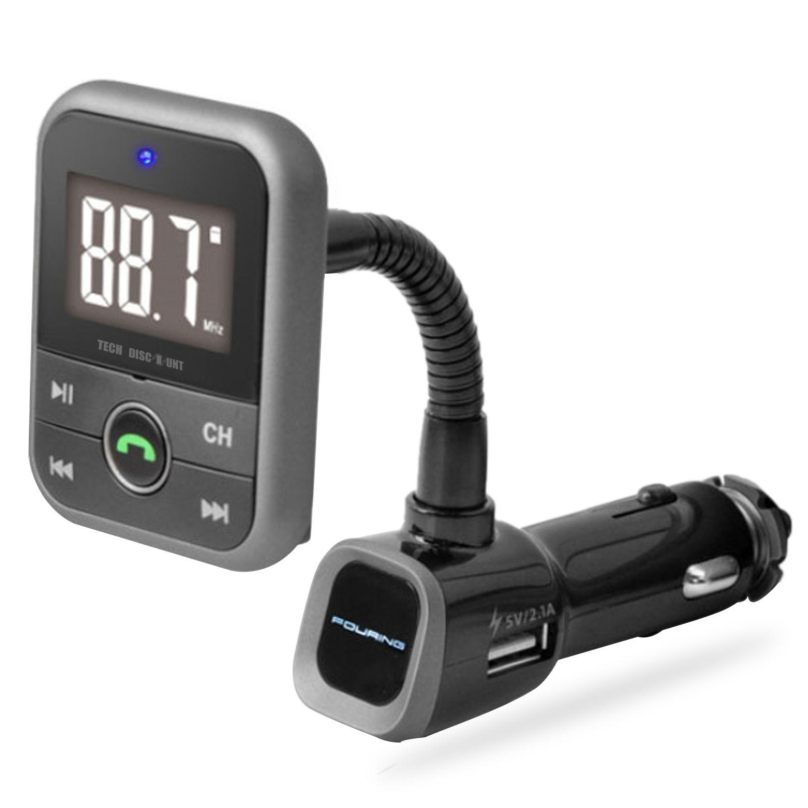 transmetteur fm bluetooth voiture allume cigare port usb écran led fonction réception sécurisée d'appels sans fil recharge téléphone
