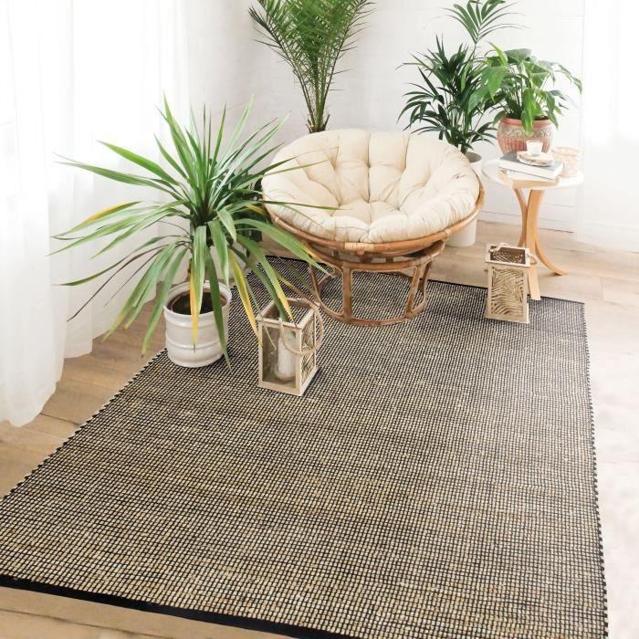 JUTE COTON - Tapis tissé en jute et coton noir et naturel 120x170
