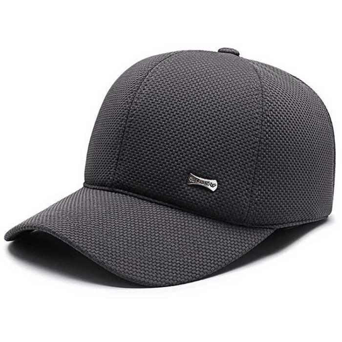 Hommes coton casquette de baseball avec oreillettes hiver chaud classique réglable sport casquette #style D4