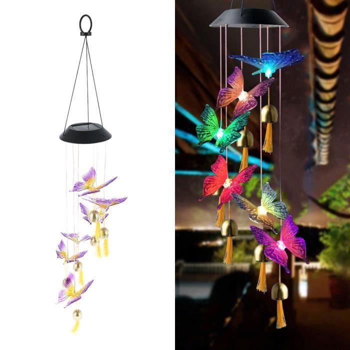A-Butterfly bell -Carillons solaires étanches avec boule de cristal et papillon,luminaire décoratif d'extérieur,idéal pour un jard