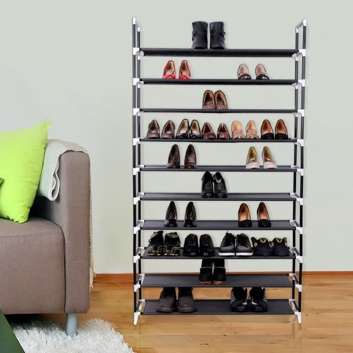 meuble penderie garde robe etagere pour chaussures vetements 100 x 29 x 175 cm noir achat. Black Bedroom Furniture Sets. Home Design Ideas