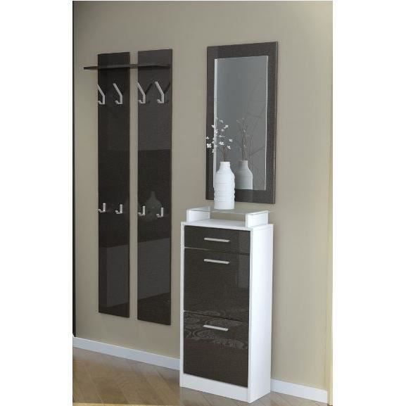 vestiaire d 39 entr e 3 l ments blanc et noir m tall achat. Black Bedroom Furniture Sets. Home Design Ideas
