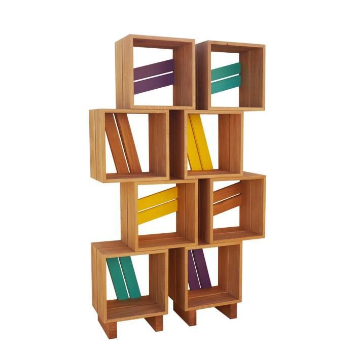 Meuble biblioth que modulable 8 casiers bois jaune violet turquoise multicolo - Achat meuble bibliotheque ...