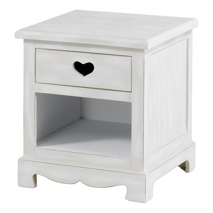 chevet blanc 1 tiroir coeur et 1 niche charme achat. Black Bedroom Furniture Sets. Home Design Ideas