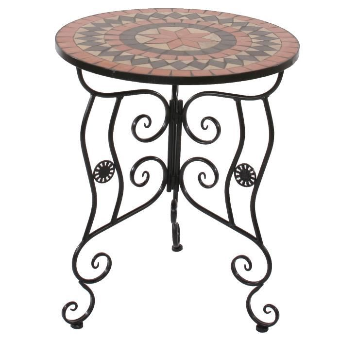 Table mosaique andria t212 table de jardin bistro 60cm terracotta achat vente table for Achat table de jardin mosaique