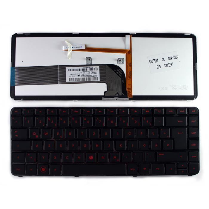 CLAVIER HP PAVILION DV4-3200TX Noir brillant Cadre Rétro-é