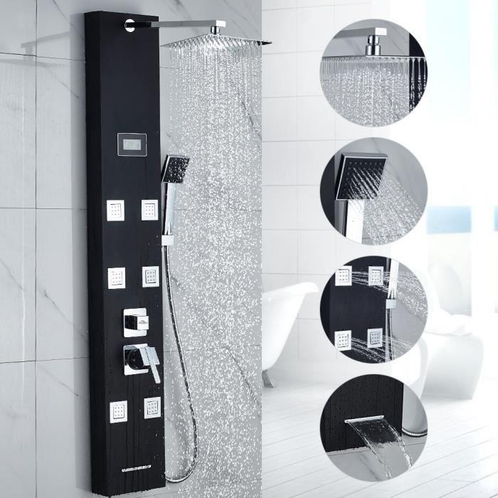 Auralum Colonne Douche Hydromassante avec /Écran LCD et Lumi/ères LED Mitigeur Douche Salle de Bain avec 3 Jets de Massage Panneau de Douche Carr/é Multifonction Acier Inox 304