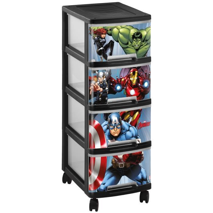curver marvel avengers tour de rangement 4 tiroirs a4 10 l avec roulettes noir achat vente. Black Bedroom Furniture Sets. Home Design Ideas