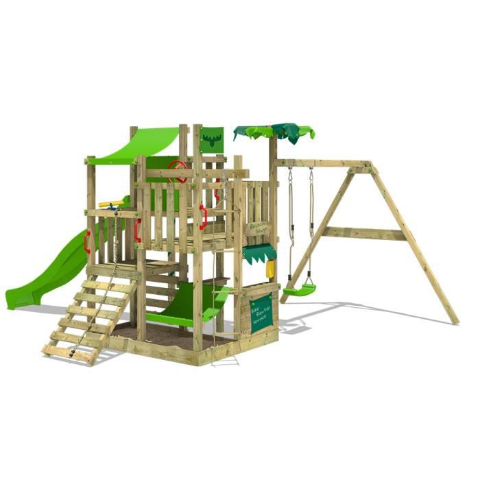 aire de jeux fatmoose bananabeach big xxl portique en bois tour d escalade avec superswing. Black Bedroom Furniture Sets. Home Design Ideas