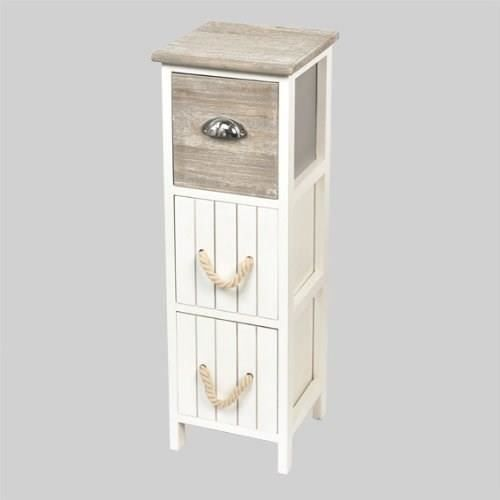 petit meuble paulownia 3 paniers bicolore blanc achat vente colonne armoire sdb petit. Black Bedroom Furniture Sets. Home Design Ideas