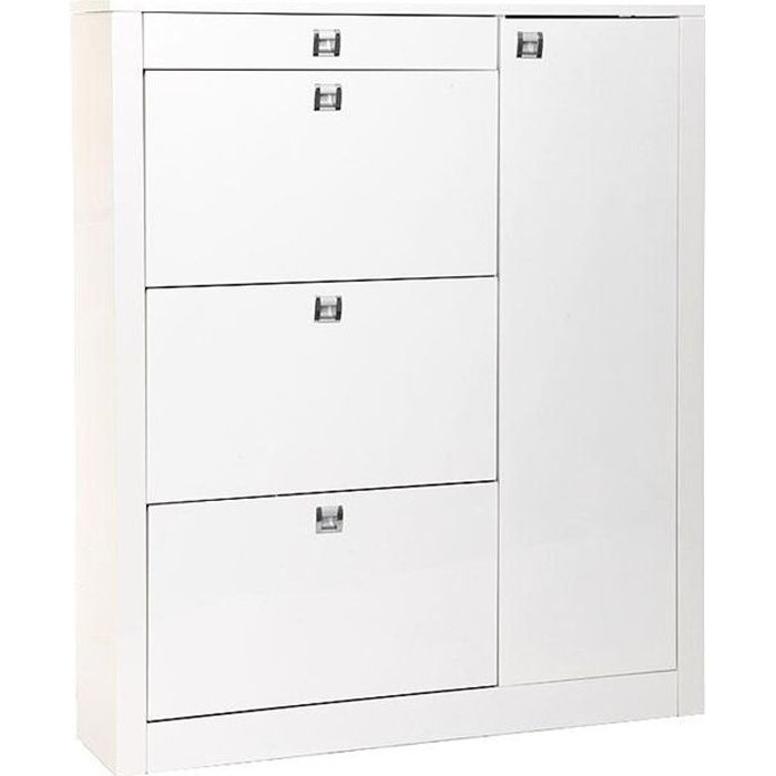 meuble chaussures design laqu blanc reva achat. Black Bedroom Furniture Sets. Home Design Ideas