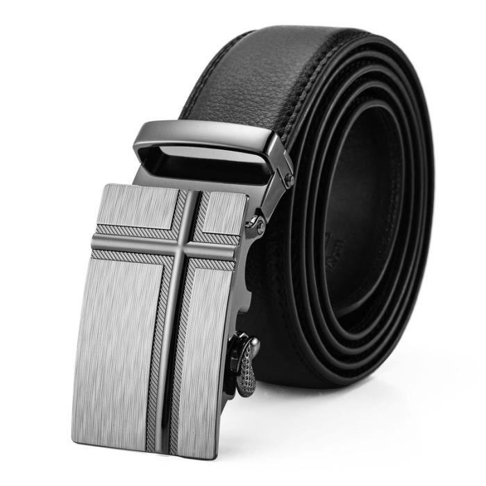 Fashion Hommes Cuir No automatique à sangle et boucle ceinture ceintures ceinture à cliquet aide