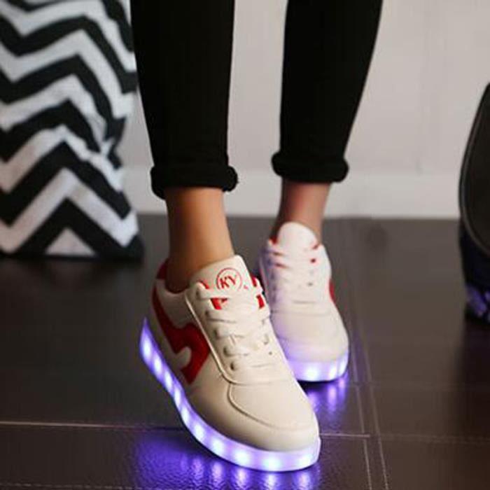 7 Couleur Homme Femme USB Charge LED Lumière Lumineux Clignotants Chaussures de Sports Baskets Blanc Noir