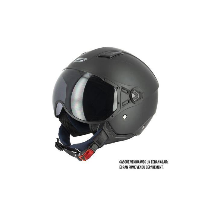 Exsential EX 730 VL Casque demi-jet noir mat pour scooter et moto taille L