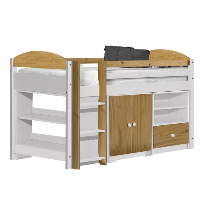 lit mi haut maximus ensemble 2 90x190 blanc naturel achat vente structure de lit lit mi haut. Black Bedroom Furniture Sets. Home Design Ideas