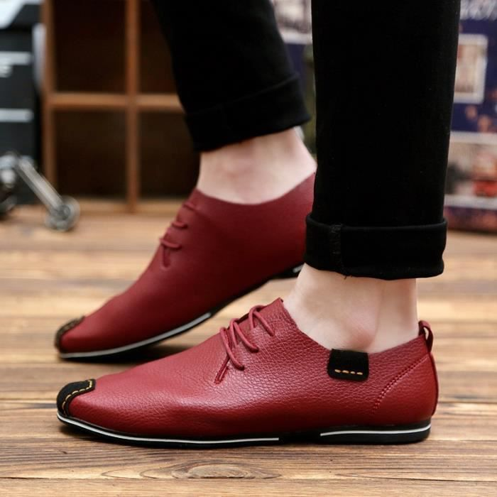 Hommes homme cuir Flats Hommes Ashion Mocassins Chaussures Oxford Chaussures Flats Souliers simple Driving en véritable Chaussures gEqwHqUxCW