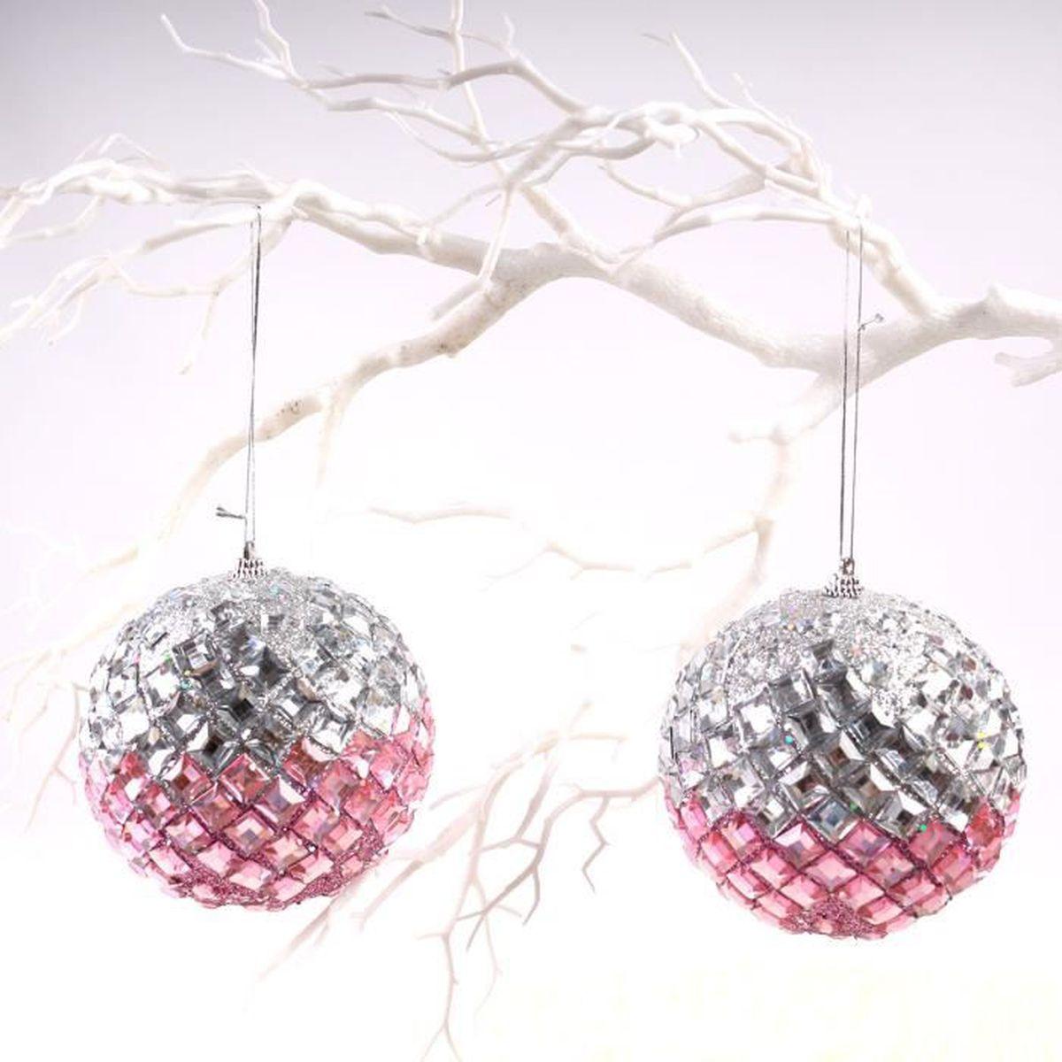 Boule De Noel Transparente A Decorer boule rose luxe ornement pvc brillant rose+grise bonne