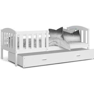 LIT COMPLET LIT ENFANT TÉO 90x190 BLANC BLANC Livré avec tiroi