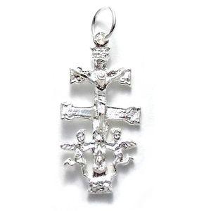 Caravaca Vierge derri/ère AC0049 Croix pendentif Loi sur 17mm dargent 925m