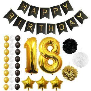 KIT DE DECORATION Ballons Happy Birthday 18ème Anniversaire, Fournit