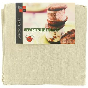 SERVIETTE DE TABLE Lot 3 Serviettes De Table Luxe 100% Coton Imprimé