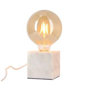 LAMPE A POSER Lampe à poser cube en marbre blanc + ampoule globe