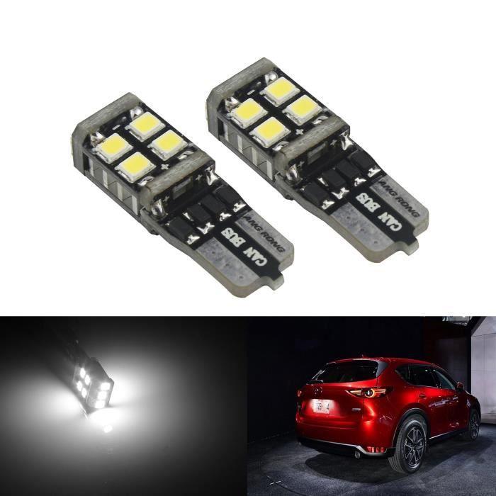 2x Ampoules Veilleuses LED T10 W5W 11 SMD Canbus Anti Erreur Blanc Moto Voiture