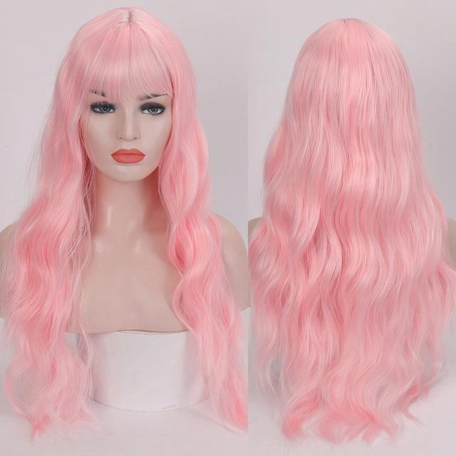 Pink- perruque synthétique bouclée frange - Perruque longue résistante à la chaleur, perruque crépue pour femmes -26 pouces