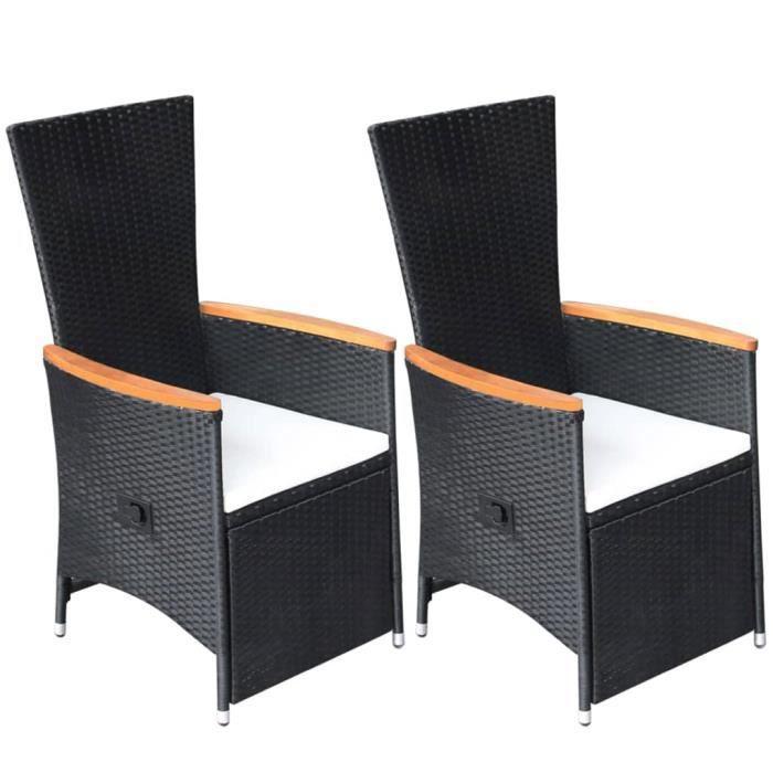 WON▲ Chaise inclinable de jardin 2pc et coussins Résine tressée Noir résistante aux intempéries et à l'eau