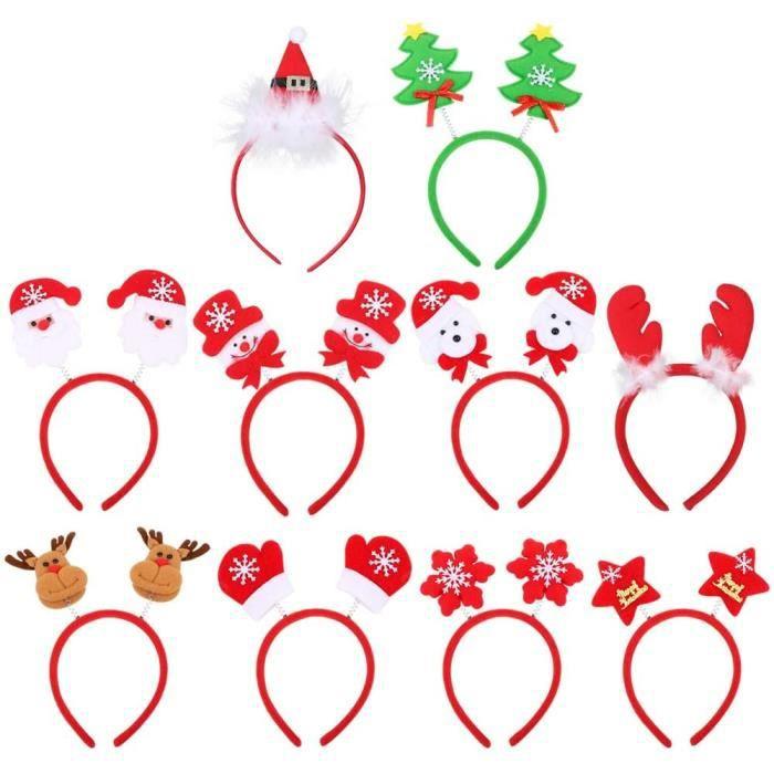 10pcs Lot de Serre-têtes Bandeau Noël pour Cheveux Bande Christmas Headband 10 Formes Mixtes Renne Père Noël Bonhomme de Neige Chape