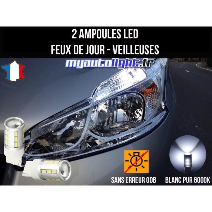 Pack feux de jour veilleuses led blanc xenon pour Peugeot 208