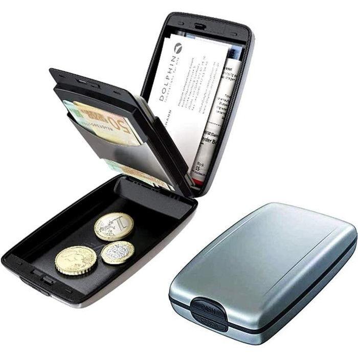 Portefeuille Sécurisé de Dépôts et Retraits RFID Porte-Monnaie en Aluminium pour Carte de crédit,Sécurité RFID Blocking Metal Wallet