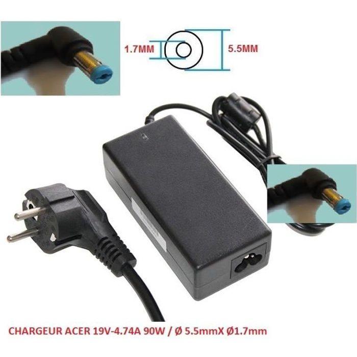 Chargeur Alimentation Compatible Pour Acer 19V 4.74A 90W / Ø 5.5Mmx Ø1.7Mm